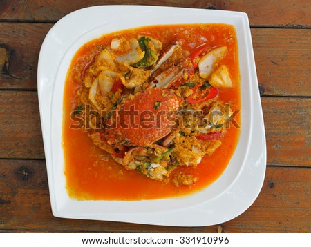 Fried crab in yellow curry, Stir-fried crab curry