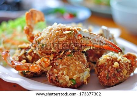 Fried crab leg. Thai Food - stock photo