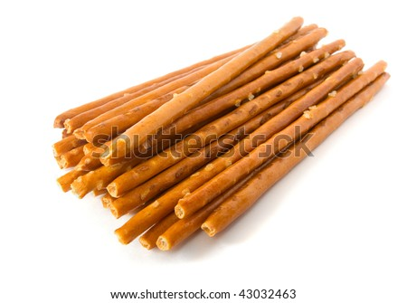 Fried crispy bread sticks isolated on white