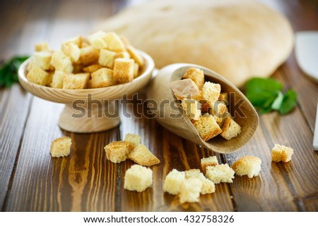 fried croutons of homemade bread
