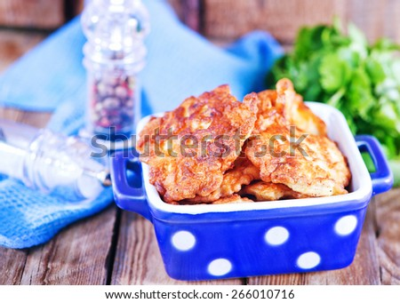 fried cutlets from chicken in the bowl - stock photo