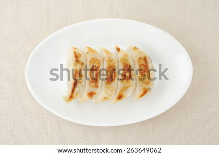 Fried Dumpling Gyoza. Garnished on plate on table cloth - stock photo