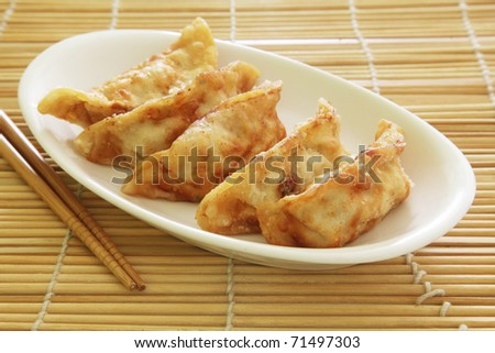 Fried Dumplings Chinese Style Cuisine as Meal - stock photo