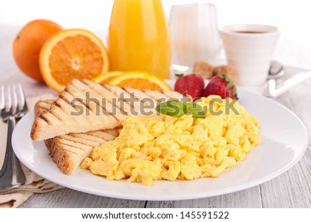 fried egg and toast - stock photo