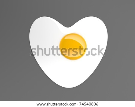 fried egg heart - stock photo