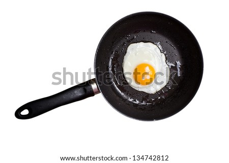Fried egg in a frying pan on white background - stock photo