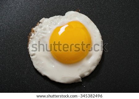 Fried egg in a frying pan with non-stick coating closeup. Top view