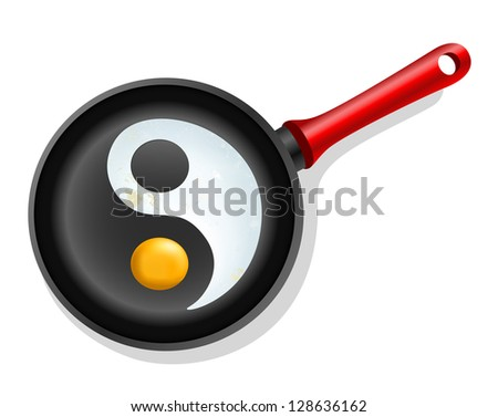 fried egg in a frying pan with symbol ying-yang - stock photo
