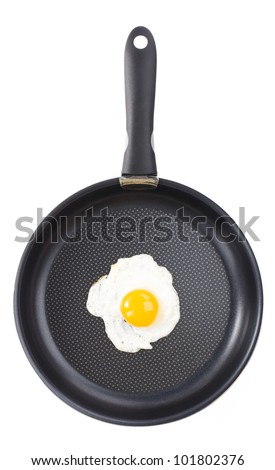 Fried egg in a pan - stock photo