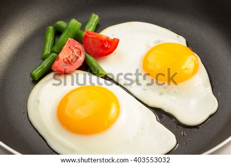 fried egg in frying pan - stock photo