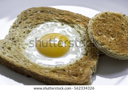 Fried Egg in the Basket. Novelty healthy breakfast meal of egg in toast. Egg fried in the middle of a slice of toast also known as egg in the basket.