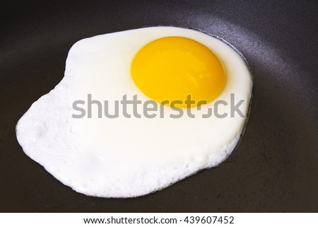 Fried egg in the pan - stock photo