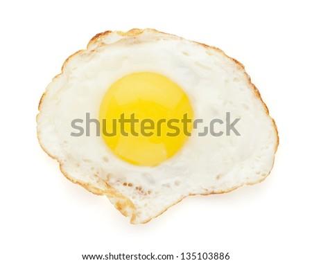 fried egg isolated - stock photo