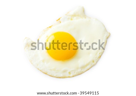 Fried egg isolated on the white background