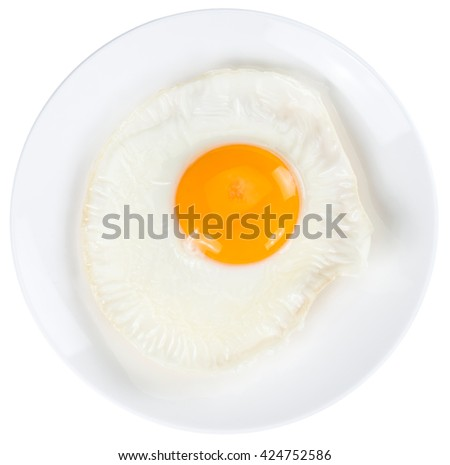 Fried Egg isolated on white background (close-up shot) - stock photo