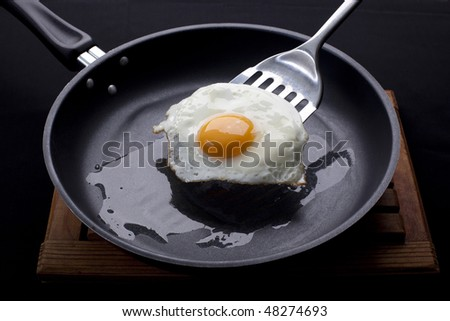 Fried egg on a frying pan - stock photo