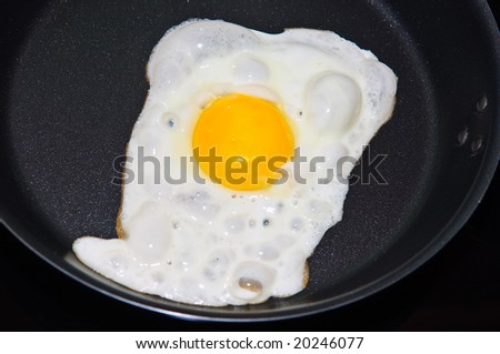 Fried egg on pan close up