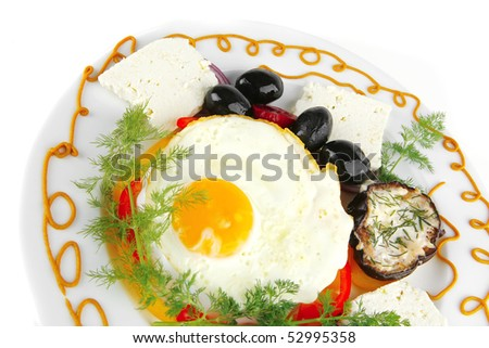fried egg on white plate with vegetables