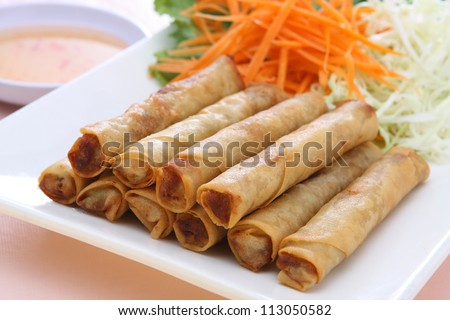 Fried Egg Rolls - stock photo