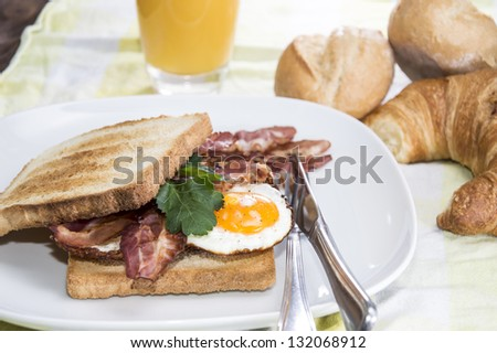 Fried Egg Sandwich with Bacon on a plate