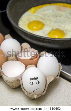 fried eggs cooking - stock photo