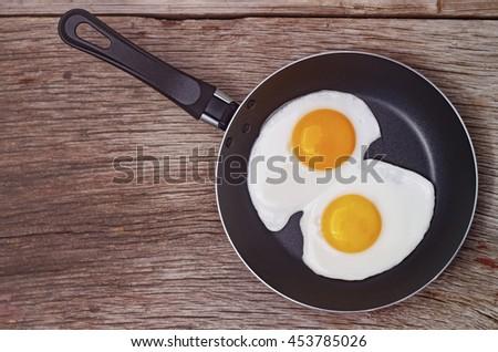 Fried eggs in a frying pan. Food. Breakfast. Healthy food. - stock photo