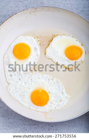 Fried eggs in the white pan. studio shot - stock photo