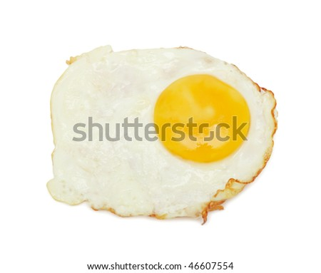 Fried eggs, isolated on a white background - stock photo