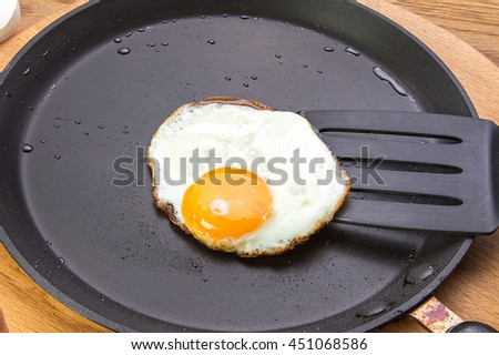 fried eggs on a plate. Plate stands on a wooden table. view from above.Food. Breakfast. - stock photo