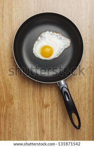 Fried eggs. Pan with handle on wood background - stock photo