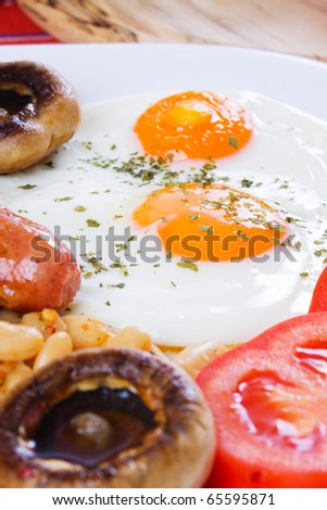 Fried eggs, sunny side up, selective focus on egg yolk