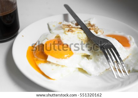 fried eggs with coffee  for healthy breakfast