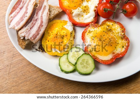 fried eggs with pepper