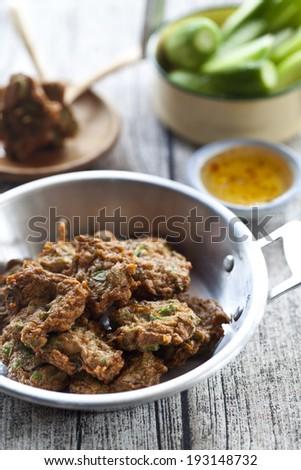 Fried Fish Cakes Thai Food. Fried fish patty (Tod Mun) - stock photo
