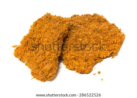 Fried fish. Fried sea fish isolated. Fried fish isolated. Golden fried fish isolated. No cholesterol food. Diet food isolated. Hot fried fish isolated. Slice fried fish isolated. Fastfood isolated.  - stock photo