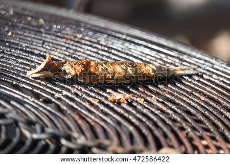 fried fish on the barbecue