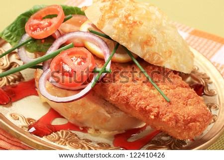 Fried fish sandwich  - stock photo