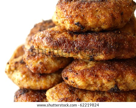 Fried hamburgers meat on the white background