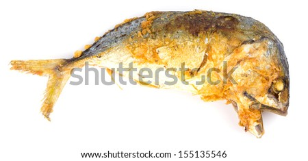 Fried mackerel on white background