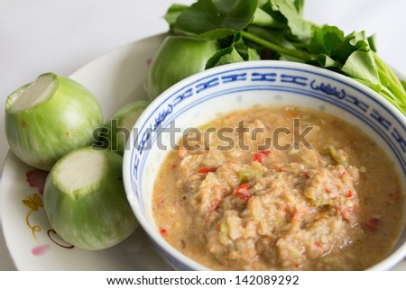 fried mackerel with shrimp paste sauce with vegetable