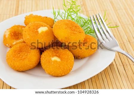 fried mozzarella-cheese - stock photo