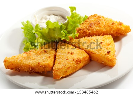 Fried Mozzarella with Tartar Sauce - stock photo
