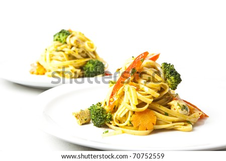 fried noodles asian style food - stock photo