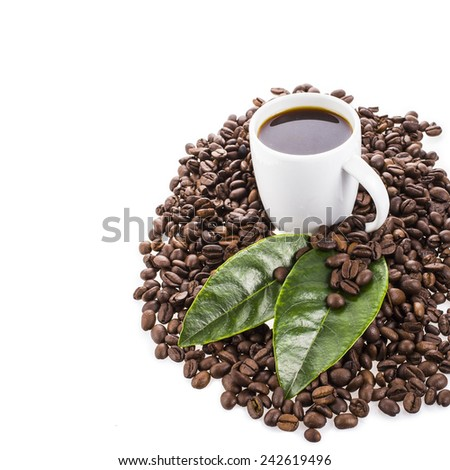 fried not ground coffee beans and white cup with a coffee drink and green leaves and flowers Isolated on white background - stock photo
