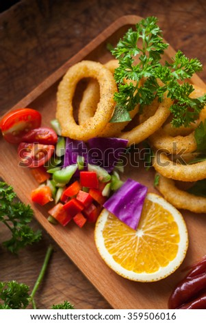 Fried onion rings - stock photo