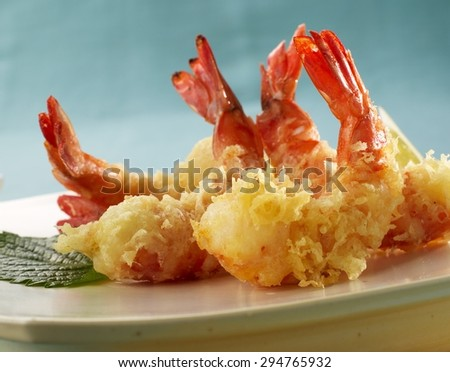 Fried Organic Coconut Shrimp with Cocktail Sauce - stock photo