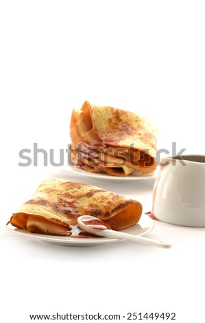 Fried pancake with raspberry jam  isolate in white background - stock photo