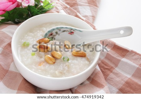 fried peanut on pork congee for Chinese food image