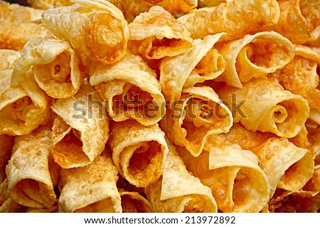 Fried pieces of cheese. - stock photo
