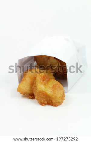 Fried pineapple on white background.JPG - stock photo